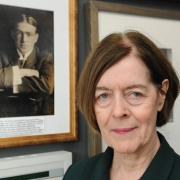 Alexandra Shackleton with a picture of her grandfather